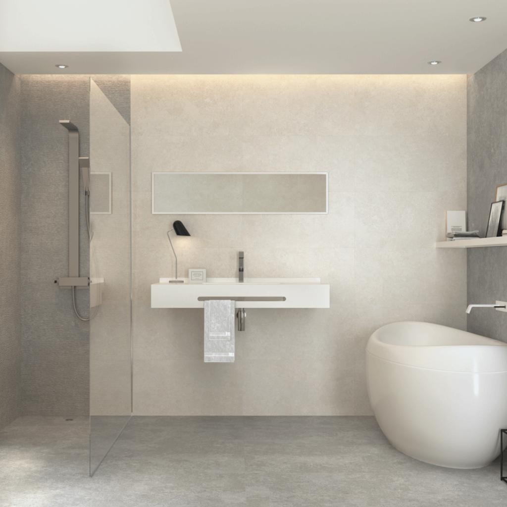 Example of our Kutello tile in use in a bathroom