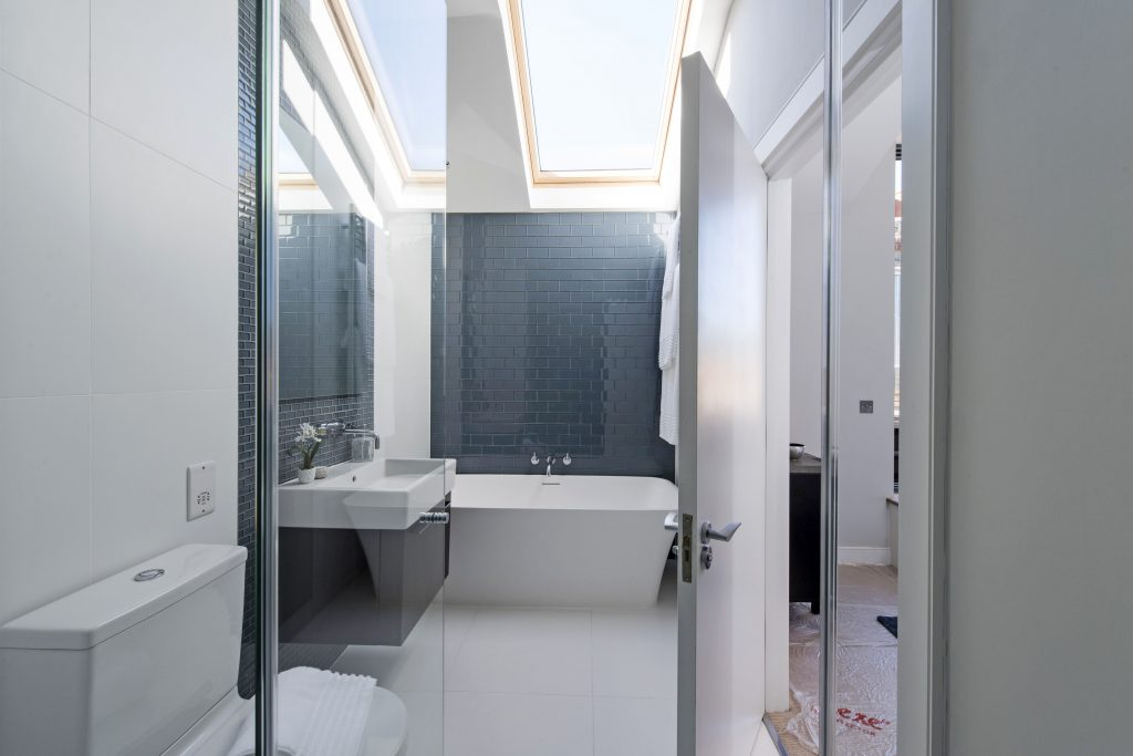 Example of the Nevado tile used in a bathroom setting